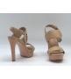 Женские босоножки Louis Vuitton (Луи Виттон) Horizon кожаные на платформе на каблуке Dark Beige