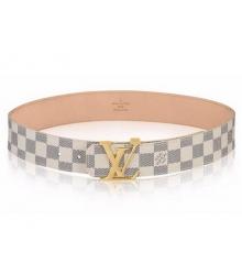 Ремень женский Louis Vuitton (Луи Виттон) Initials Damier Azur Belt Gold