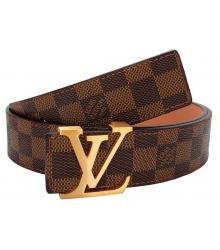 Ремень женский Louis Vuitton (Луи Виттон) Initials Damier Belt Gold