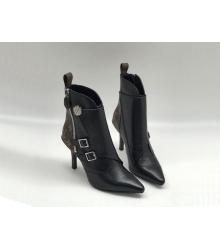 Ботильоны женские Louis Vuitton (Луи Виттон) Jumble кожаные на молнии каблук шпилька Black
