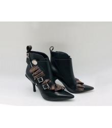 Ботильоны женские Louis Vuitton (Луи Виттон) Jumble кожаные на молнии каблук шпилька Black/Brown