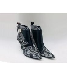 Ботильоны женские Louis Vuitton (Луи Виттон) Jumble кожаные на молнии каблук шпилька Black/White