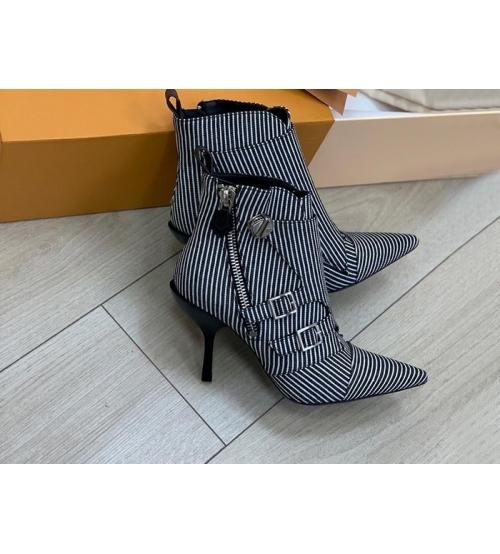 Ботильоны женские Louis Vuitton (Луи Виттон) Jumble кожаные на молнии каблук шпилька WhiteBlack