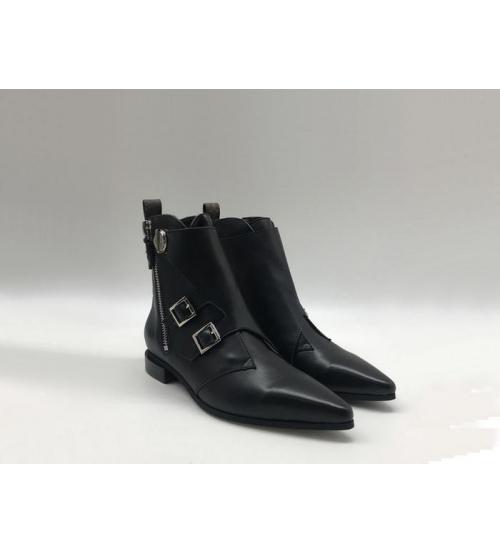 Ботинки женские Louis Vuitton (Луи Виттон) Jumble кожаные с молнией Black