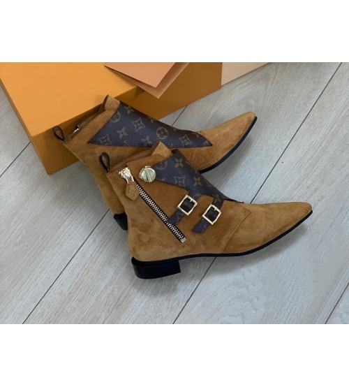 Ботинки женские Louis Vuitton (Луи Виттон) Jumble замшевые с молнией Blrown
