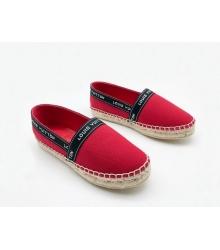 Эспадрильи женские Louis Vuitton (Луи Виттон) кожа текстиль Red