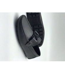 Мужские мокасины Louis Vuitton (Луи Виттон) кожа текстурная Black