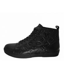 Кеды брендовые мужские Louis Vuitton (Луи Виттон) кожаные High Black