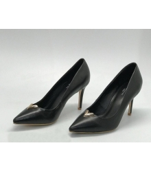 Женские туфли Louis Vuitton (Луи Виттон) кожаные на каблуке шпилька Black