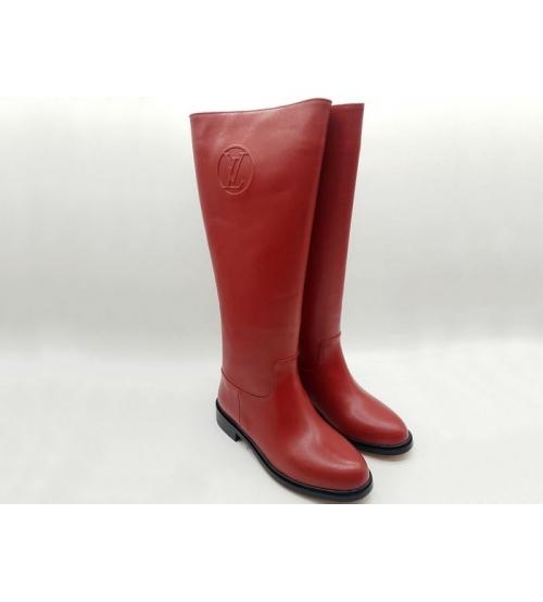 Женские сапоги Louis Vuitton (Луи Виттон) кожаные осенние High Red ... 4d64256f1ac