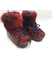 Сапоги луноходы женские Louis Vuitton (Луи Виттон) кожаные с мехом Red