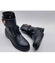 Ботинки женские Louis Vuitton (Луи Виттон) кожаные с принтом Black