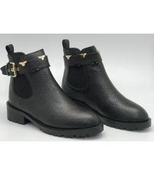 Полусапоги женские Louis Vuitton (Луи Виттон) кожаные с пряжкой Black