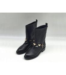 Полусапожки женские Louis Vuitton (Луи Виттон) кожаные с ремешком Black