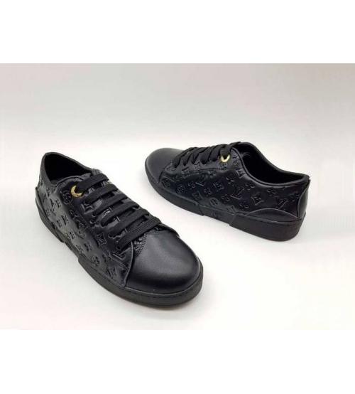 Женские кроссовки Louis Vuitton (Луи Виттон) кожаные с тиснением логотипа LV Black