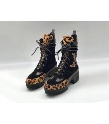 Ботинки женские Louis Vuitton (Луи Виттон) Laureate кожа с замшей на платформе Black