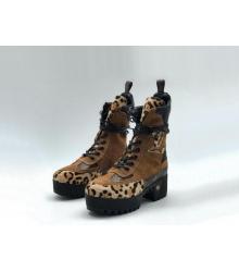 Ботинки женские Louis Vuitton (Луи Виттон) Laureate кожа с замшей на платформе Brown