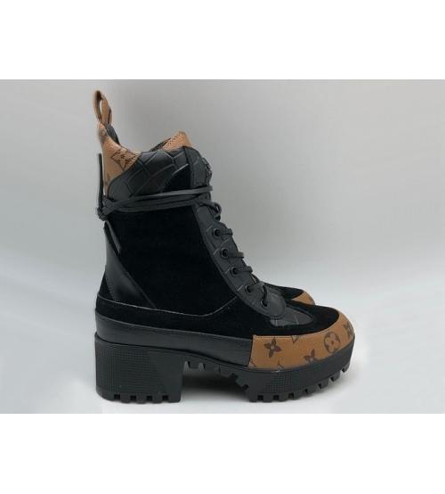 Ботинки женские Louis Vuitton (Луи Виттон) Laureate кожаные на платформе Black