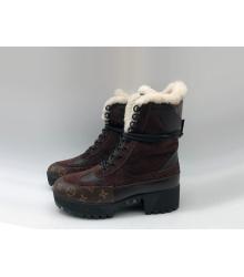 Зимние на меху ботинки женские Louis Vuitton (Луи Виттон) Laureate кожаные на платформе Brown