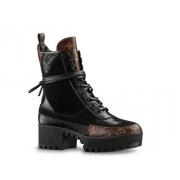 Ботильоны женские Louis Vuitton (Луи Виттон) Laureate осенние кожаные на платформе Black/Brown