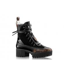 Ботинки женские Louis Vuitton (Луи Виттон) Laureate осенние на платформе Black