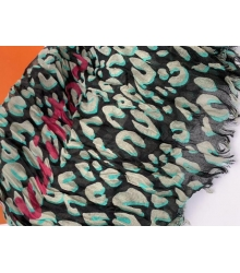 Женский палантин Louis Vuitton (Луи Виттон) LEOPARD с розовым принт LV шёлк сжатый с хлопком Green/Black