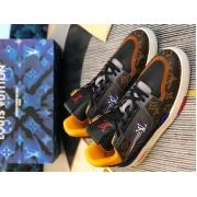 Кроссовки мужские Louis Vuitton (Луи Виттон) LV Trainer кожаные Brown/Blue