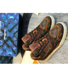 Кроссовки мужские Louis Vuitton (Луи Виттон) LV Trainer кожаные Brown