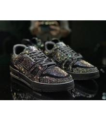 Кроссовки мужские Louis Vuitton (Луи Виттон) LV Trainer кожаные с искусственные алмазы на шнуровке Black