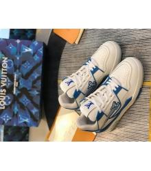 Кроссовки мужские Louis Vuitton (Луи Виттон) LV Trainer кожаные White/Blue