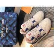 Кроссовки мужские Louis Vuitton (Луи Виттон) LV Trainer кожаные White/Red