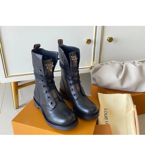 Ботинки женские Louis Vuitton (Луи Виттон) Metropolis кожаные на шнурках Black