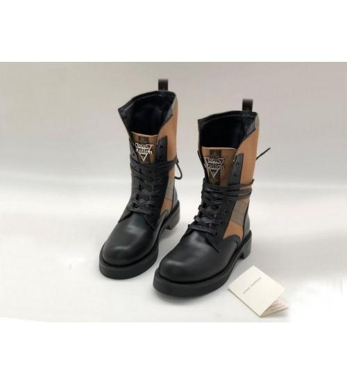 Ботинки женские Louis Vuitton (Луи Виттон) Metropolis кожаные на шнурках Brown/Black