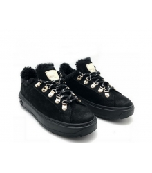 Женские зимние кеды Louis Vuitton (Луи Виттон) Millenium замшевые с мехом на шнурках Black