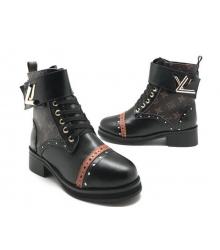 Ботинки зимние женские Louis Vuitton (Луи Виттон) на меху c клепками Black/Brown
