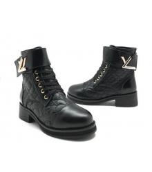 Ботинки зимние женские Louis Vuitton (Луи Виттон) на меху кожа стеганая Black