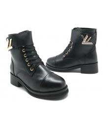 Ботинки зимние женские Louis Vuitton (Луи Виттон) на меху кожаные Black