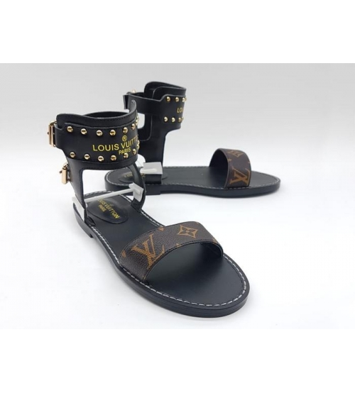 Босоножки женские Louis Vuitton (Луи Виттон) Nomad кожаные Black/Brown