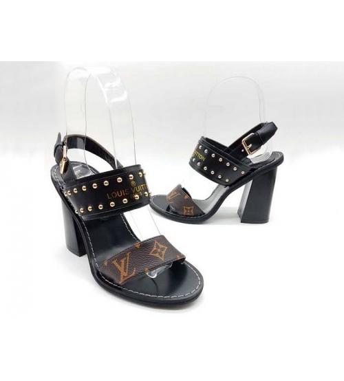 Босоножки женские Louis Vuitton (Луи Виттон) Nomad кожаные на толстом каблуке с клепками Black/Brown