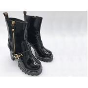 Полусапоги женские Louis Vuitton (Луи Виттон) осенние кожаные Black