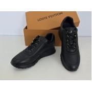 Кроссовки мужские Louis Vuitton (Луи Виттон) осенние кожаные на шнурках Black