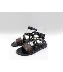Женские сандалии Louis Vuitton (Луи Виттон) Passenger кожаные Brown/Black