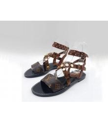 Женские сандалии Louis Vuitton (Луи Виттон) Passenger кожаные Brown