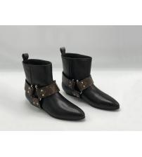 Ботинки женские Louis Vuitton (Луи Виттон) Rhapsody кожаные классическая байкерская модель Black