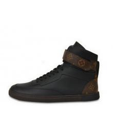 Кроссовки мужские Louis Vuitton (Луи Виттон) Rivoli кожаные Black/Brown