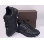 Мужские кроссовки Louis Vuitton (Луи Виттон) Run Away кожа тисненная Black