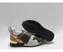 Женские кроссовки Louis Vuitton (Луи Виттон) Run Away кожаные Black/Pink/White