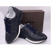 Мужские кроссовки Louis Vuitton (Луи Виттон) Run Away кожаные Blue