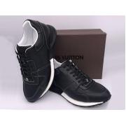 Мужские кроссовки Louis Vuitton (Луи Виттон) Run Away кожаные на шнурках Black