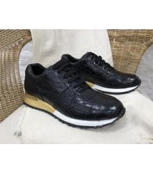 Кроссовки мужские Louis Vuitton (Луи Виттон) Run Away натуральная кожа крокодила Black/Gold